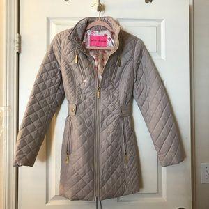 Betsey Johnson Beige Corset Back Puffer Jacket
